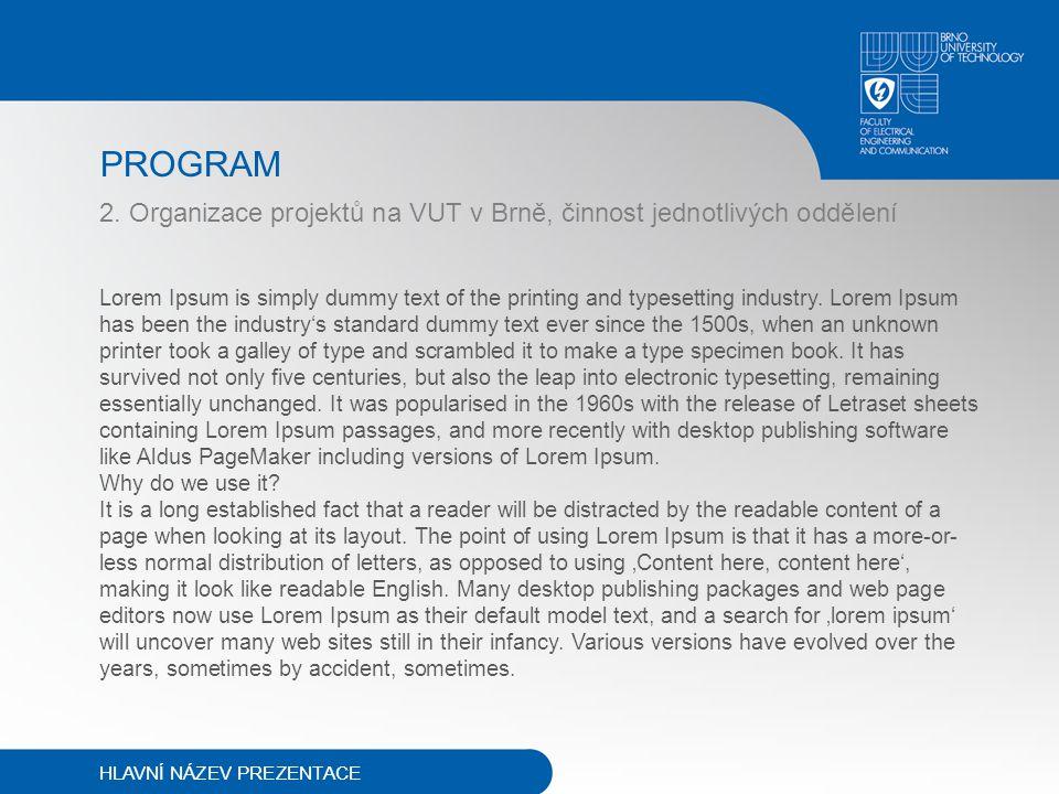 PROGRAM 2. Organizace projektů na VUT v Brně, činnost jednotlivých oddělení Lorem Ipsum is simply dummy text of the printing and typesetting industry.
