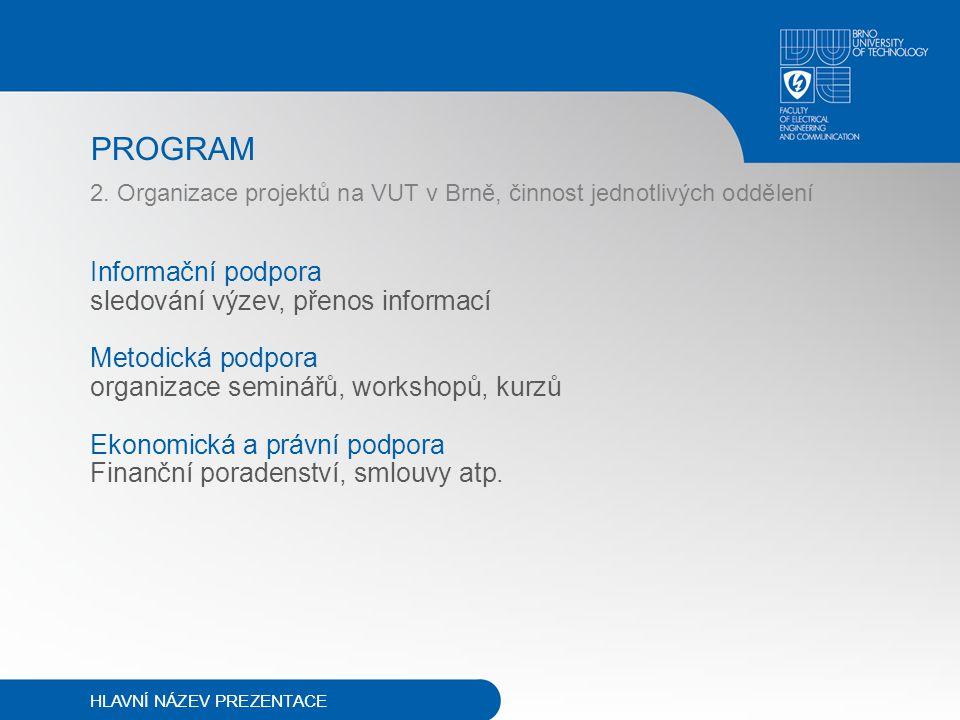 PROGRAM 2. Organizace projektů na VUT v Brně, činnost jednotlivých oddělení Informační podpora sledování výzev, přenos informací Metodická podpora org