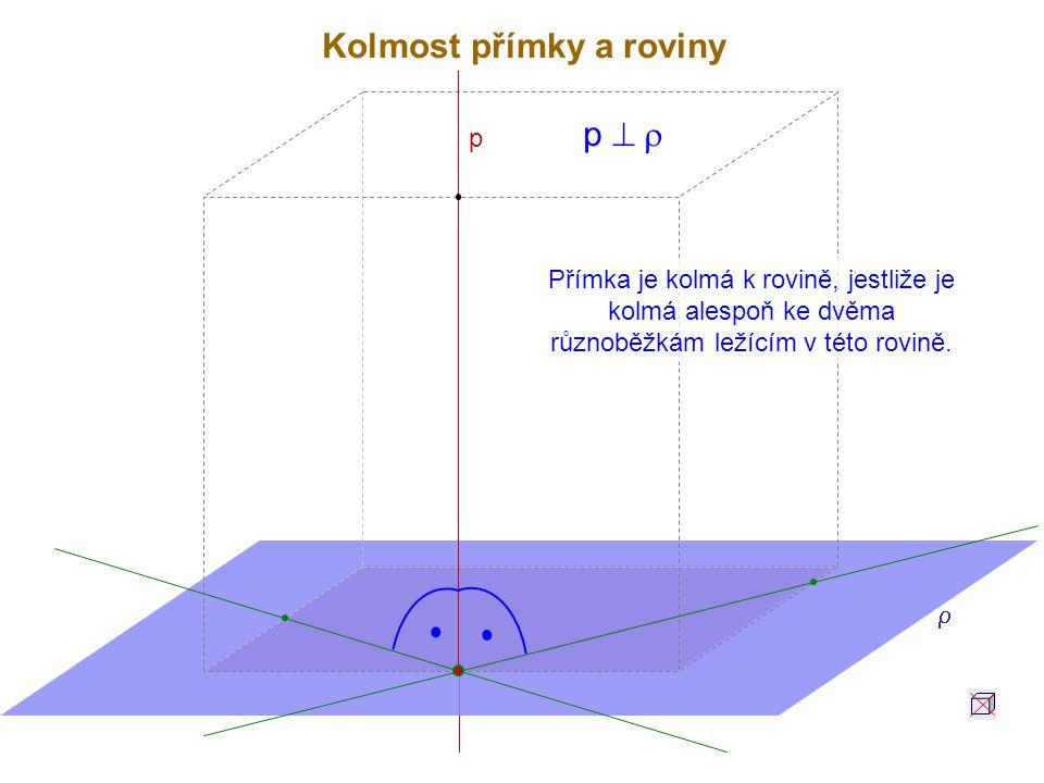 Přímka je kolmá k rovině, jestliže je kolmá alespoň ke dvěma různoběžkám ležícím v této rovině.