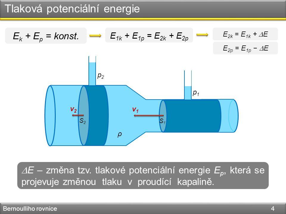 Tlaková potenciální energie Bernoulliho rovnice 4 v1v1 v2v2 S1S1 S2S2 ρ p1p1 p2p2 E k + E p = konst.  E – změna tzv. tlakové potenciální energie E p,