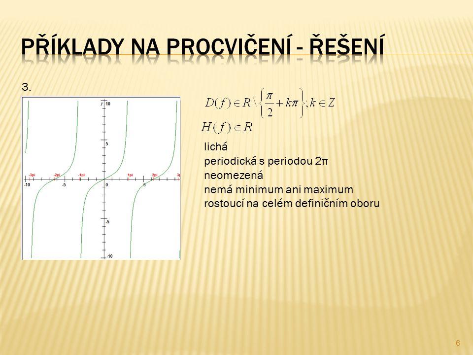 3. lichá periodická s periodou 2π neomezená nemá minimum ani maximum rostoucí na celém definičním oboru 6