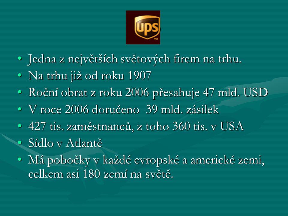 UPS Jedna z největších světových firem na trhu.Jedna z největších světových firem na trhu. Na trhu již od roku 1907Na trhu již od roku 1907 Roční obra