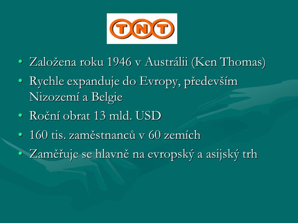 TNT Založena roku 1946 v Austrálii (Ken Thomas)Založena roku 1946 v Austrálii (Ken Thomas) Rychle expanduje do Evropy, především Nizozemí a BelgieRych