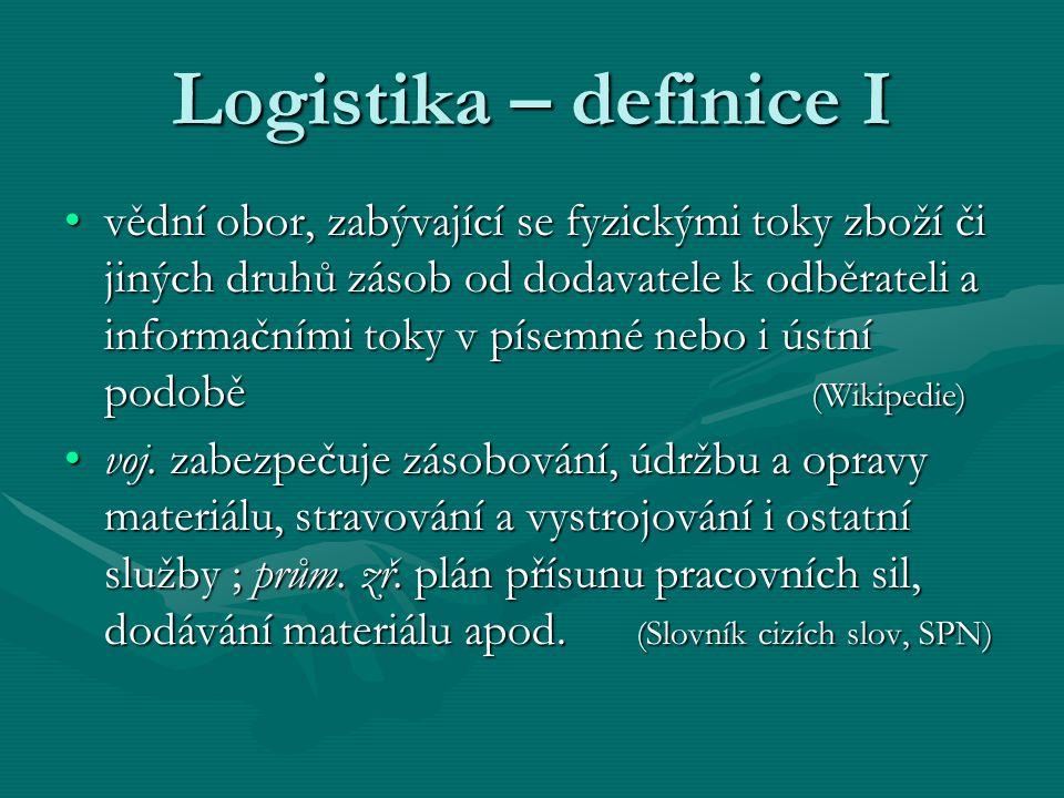 Logistika – definice I vědní obor, zabývající se fyzickými toky zboží či jiných druhů zásob od dodavatele k odběrateli a informačními toky v písemné n