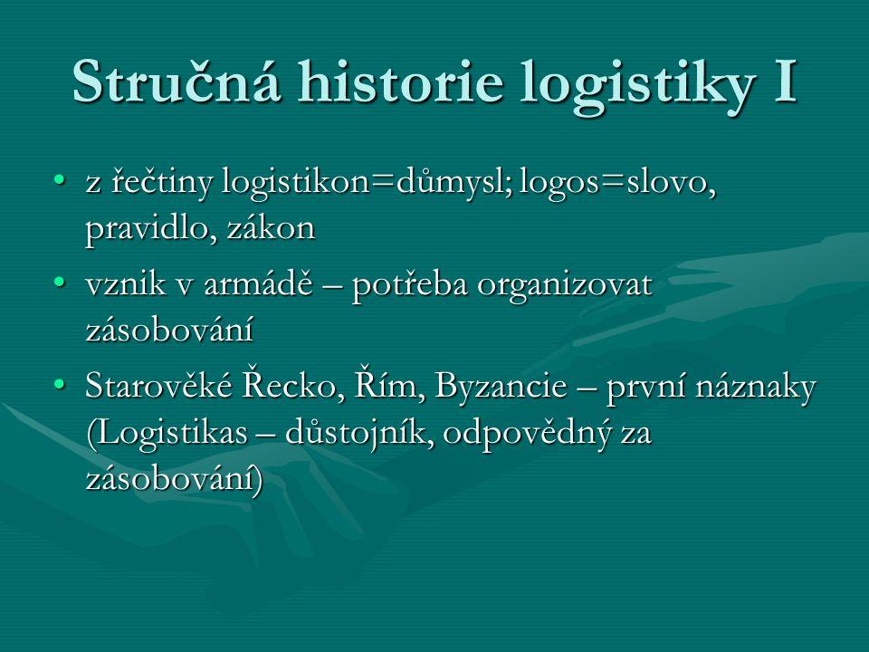Stručná historie logistiky I z řečtiny logistikon=důmysl; logos=slovo, pravidlo, zákonz řečtiny logistikon=důmysl; logos=slovo, pravidlo, zákon vznik