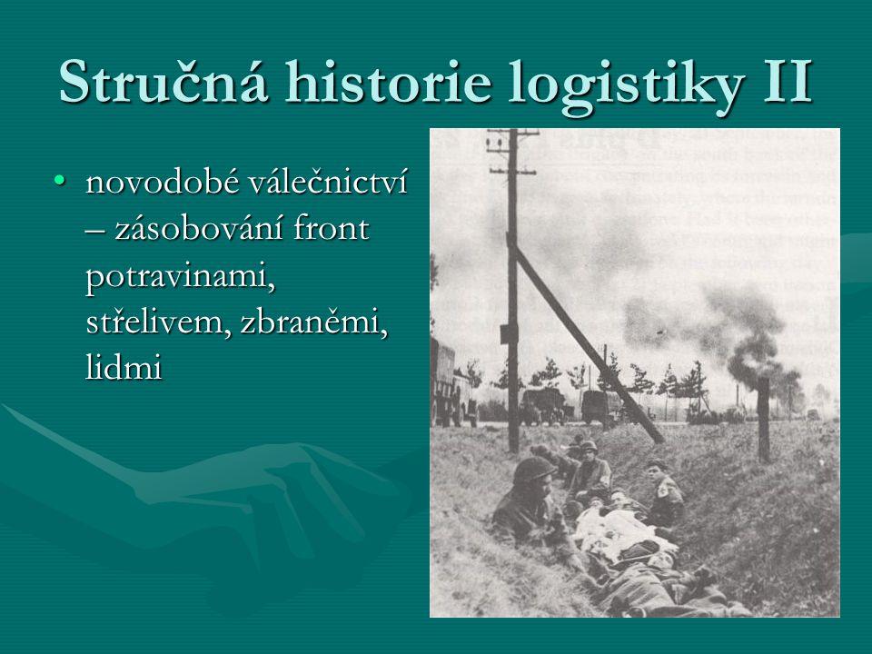 Stručná historie logistiky II novodobé válečnictví – zásobování front potravinami, střelivem, zbraněmi, lidminovodobé válečnictví – zásobování front p