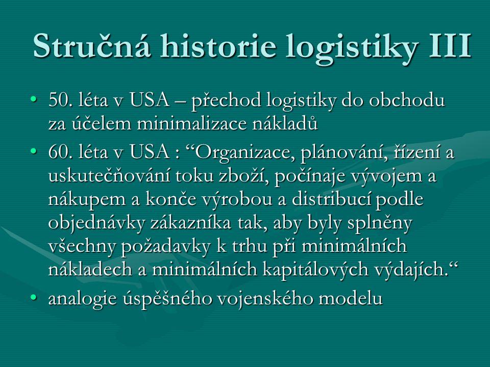 Stručná historie logistiky III 50. léta v USA – přechod logistiky do obchodu za účelem minimalizace nákladů50. léta v USA – přechod logistiky do obcho
