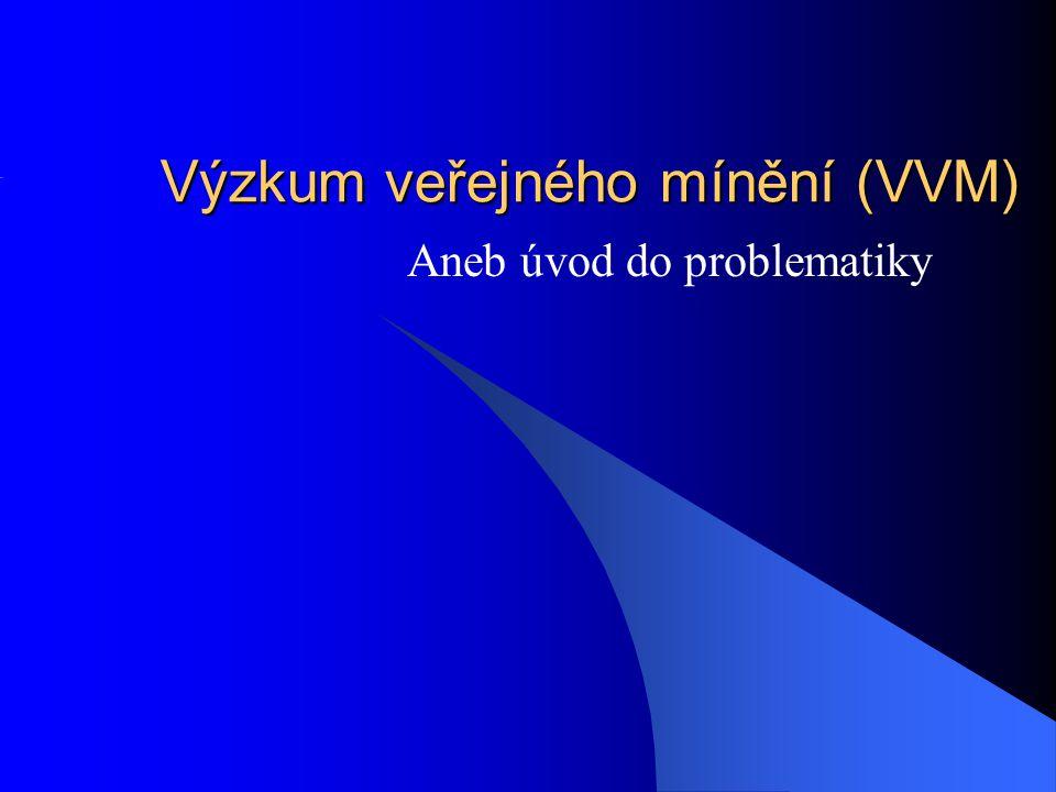 Výzkum veřejného mínění (VVM) Aneb úvod do problematiky
