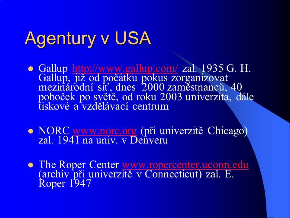 Agentury v USA Gallup http://www.gallup.com/ zal. 1935 G.