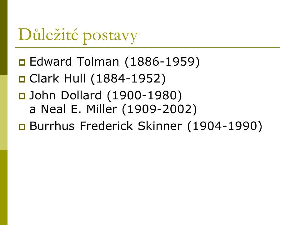 Důležité postavy  Edward Tolman (1886-1959)  Clark Hull (1884-1952)  John Dollard (1900-1980) a Neal E. Miller (1909-2002)  Burrhus Frederick Skin