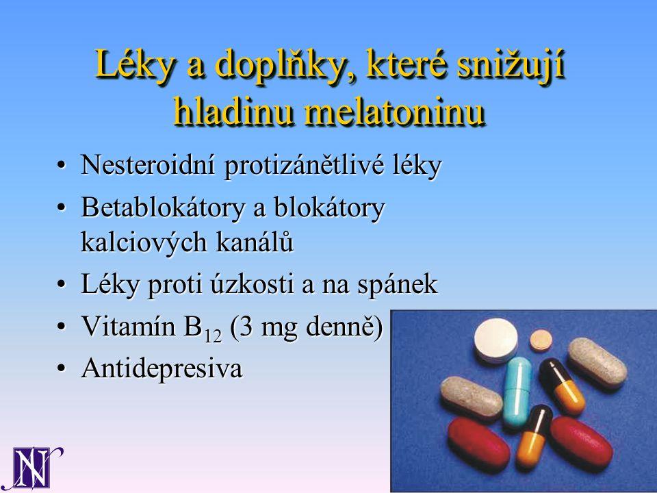 Léky a doplňky, které snižují hladinu melatoninu Nesteroidní protizánětlivé lékyNesteroidní protizánětlivé léky Betablokátory a blokátory kalciových kanálůBetablokátory a blokátory kalciových kanálů Léky proti úzkosti a na spánekLéky proti úzkosti a na spánek Vitamín B 12 (3 mg denně)Vitamín B 12 (3 mg denně) AntidepresivaAntidepresiva