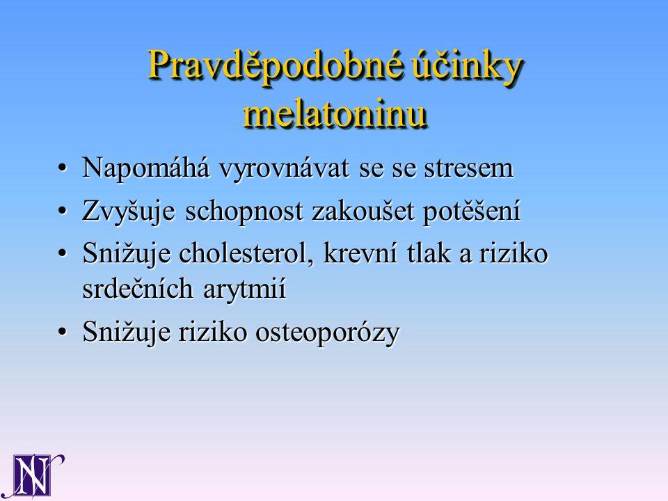 Pravděpodobné účinky melatoninu Napomáhá vyrovnávat se se stresemNapomáhá vyrovnávat se se stresem Zvyšuje schopnost zakoušet potěšeníZvyšuje schopnost zakoušet potěšení Snižuje cholesterol, krevní tlak a riziko srdečních arytmiíSnižuje cholesterol, krevní tlak a riziko srdečních arytmií Snižuje riziko osteoporózySnižuje riziko osteoporózy