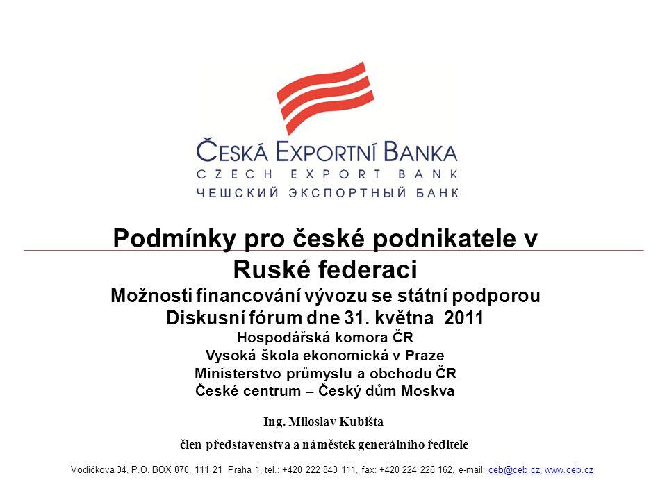 22 ČEB partner pro vývozce do Ruské federace 1.Sberbank – Savings Bank of Russian Federation 2.