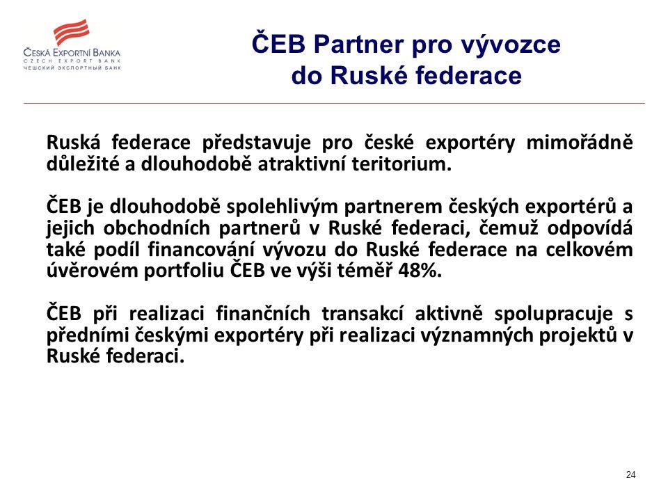 24 ČEB Partner pro vývozce do Ruské federace Ruská federace představuje pro české exportéry mimořádně důležité a dlouhodobě atraktivní teritorium.
