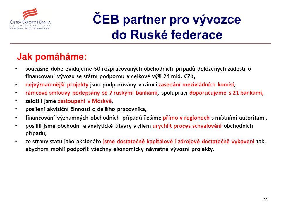 26 ČEB partner pro vývozce do Ruské federace Jak pomáháme: současné době evidujeme 50 rozpracovaných obchodních případů doložených žádostí o financování vývozu se státní podporou v celkové výši 24 mld.