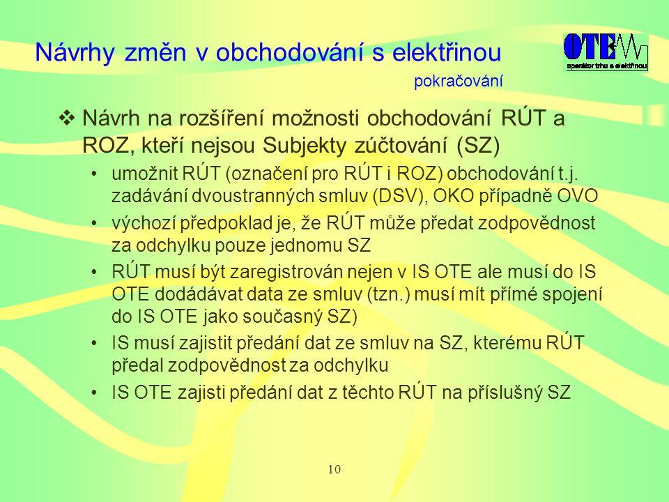10 Návrhy změn v obchodování s elektřinou  Návrh na rozšíření možnosti obchodování RÚT a ROZ, kteří nejsou Subjekty zúčtování (SZ) umožnit RÚT (označení pro RÚT i ROZ) obchodování t.j.