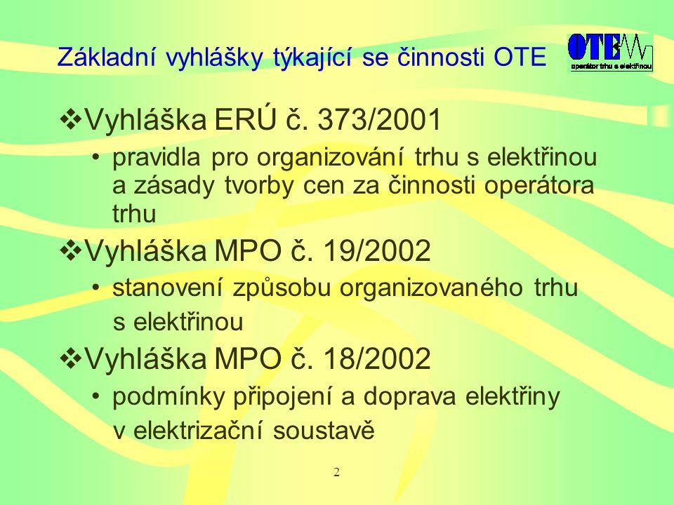 2 Základní vyhlášky týkající se činnosti OTE  Vyhláška ERÚ č.