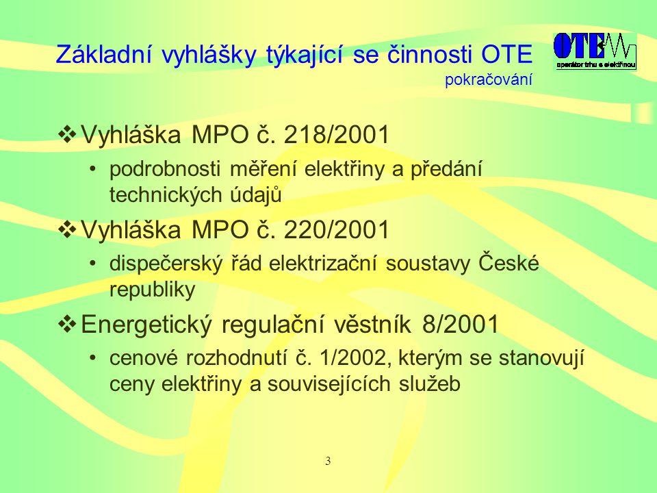 3 Základní vyhlášky týkající se činnosti OTE  Vyhláška MPO č.