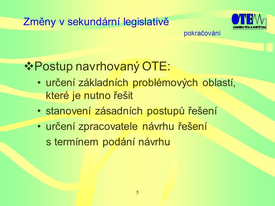 5 Změny v sekundární legislativě  Postup navrhovaný OTE: určení základních problémových oblastí, které je nutno řešit stanovení zásadních postupů řešení určení zpracovatele návrhu řešení s termínem podání návrhu pokračování