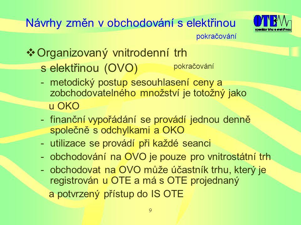 9 Návrhy změn v obchodování s elektřinou  Organizovaný vnitrodenní trh s elektřinou (OVO) -metodický postup sesouhlasení ceny a zobchodovatelného množství je totožný jako u OKO -finanční vypořádání se provádí jednou denně společně s odchylkami a OKO -utilizace se provádí při každé seanci -obchodování na OVO je pouze pro vnitrostátní trh -obchodovat na OVO může účastník trhu, který je registrován u OTE a má s OTE projednaný a potvrzený přístup do IS OTE pokračování