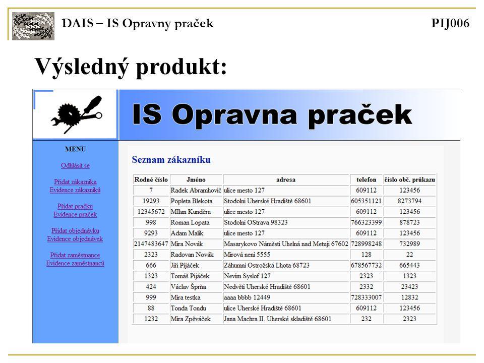 DAIS – IS Opravny praček PIJ006 Výsledný produkt:
