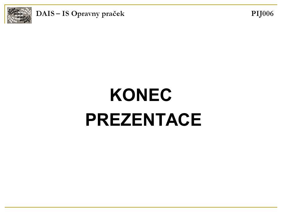 DAIS – IS Opravny praček PIJ006 KONEC PREZENTACE