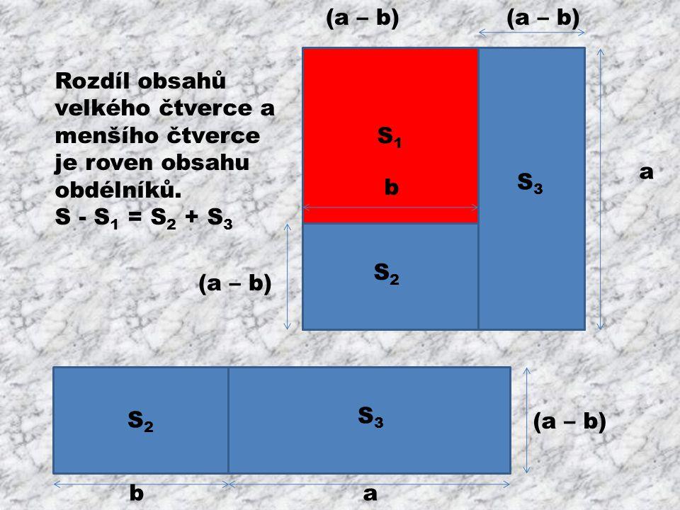 b S1S1 b b S2S2 S3S3 (a – b) a b S2S2 ab S3S3 Rozdíl obsahů velkého čtverce a menšího čtverce je roven obsahu obdélníků.