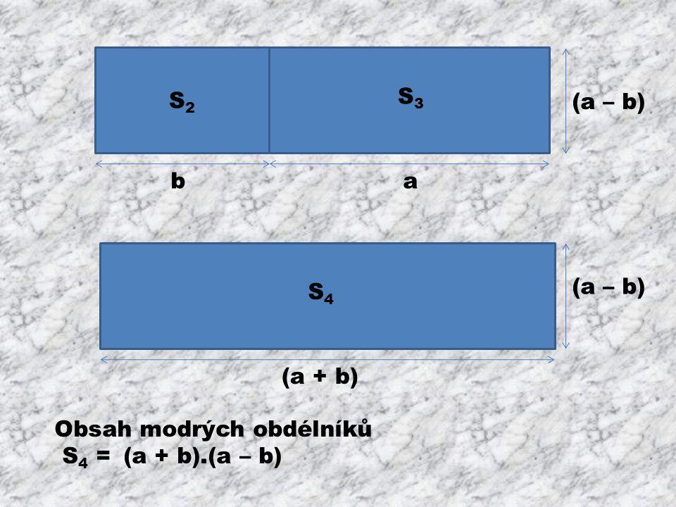 S2S2 (a – b) ab S3S3 (a + b) Obsah modrých obdélníků S 4 = (a + b).(a – b) S4S4