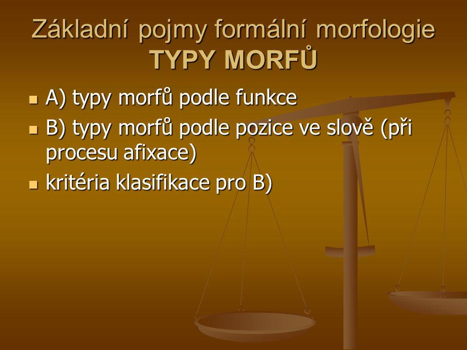 Základní pojmy formální morfologie TYPY MORFŮ A) typy morfů podle funkce A) typy morfů podle funkce B) typy morfů podle pozice ve slově (při procesu a