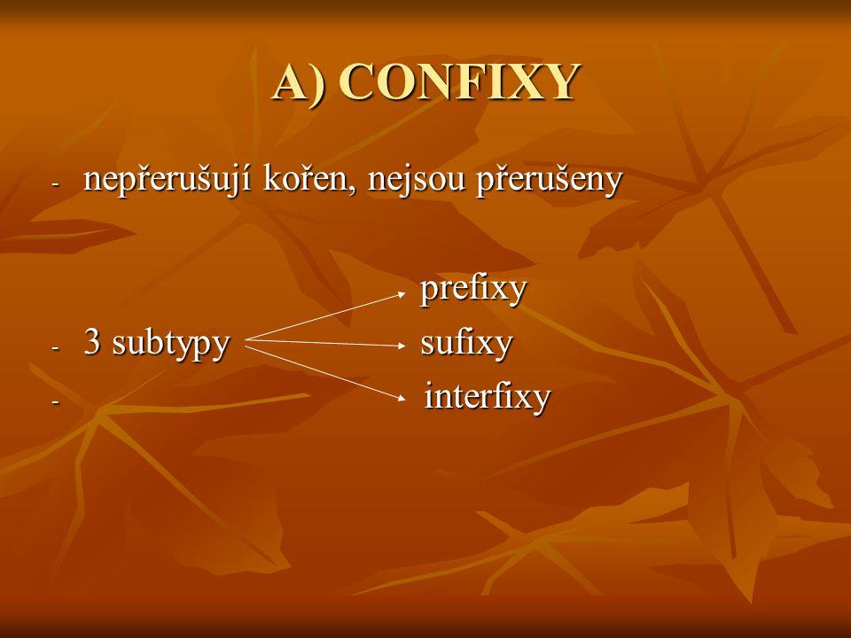 A) CONFIXY - nepřerušují kořen, nejsou přerušeny prefixy prefixy - 3 subtypy sufixy - interfixy