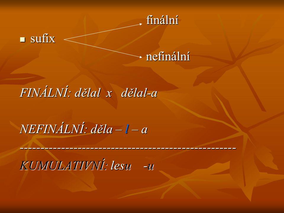 finální finální sufix sufix nefinální nefinální FINÁLNÍ: dělal x dělal-a NEFINÁLNÍ: děla – l – a ----------------------------------------------------