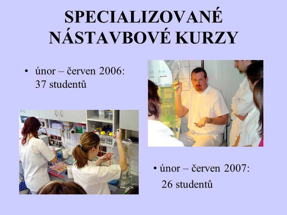 SPECIALIZOVANÉ NÁSTAVBOVÉ KURZY únor – červen 2006: 37 studentů únor – červen 2007: 26 studentů