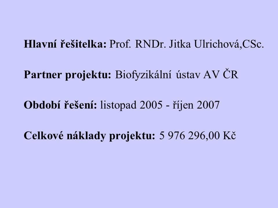 Hlavní řešitelka: Prof. RNDr. Jitka Ulrichová,CSc. Partner projektu: Biofyzikální ústav AV ČR Období řešení: listopad 2005 - říjen 2007 Celkové náklad