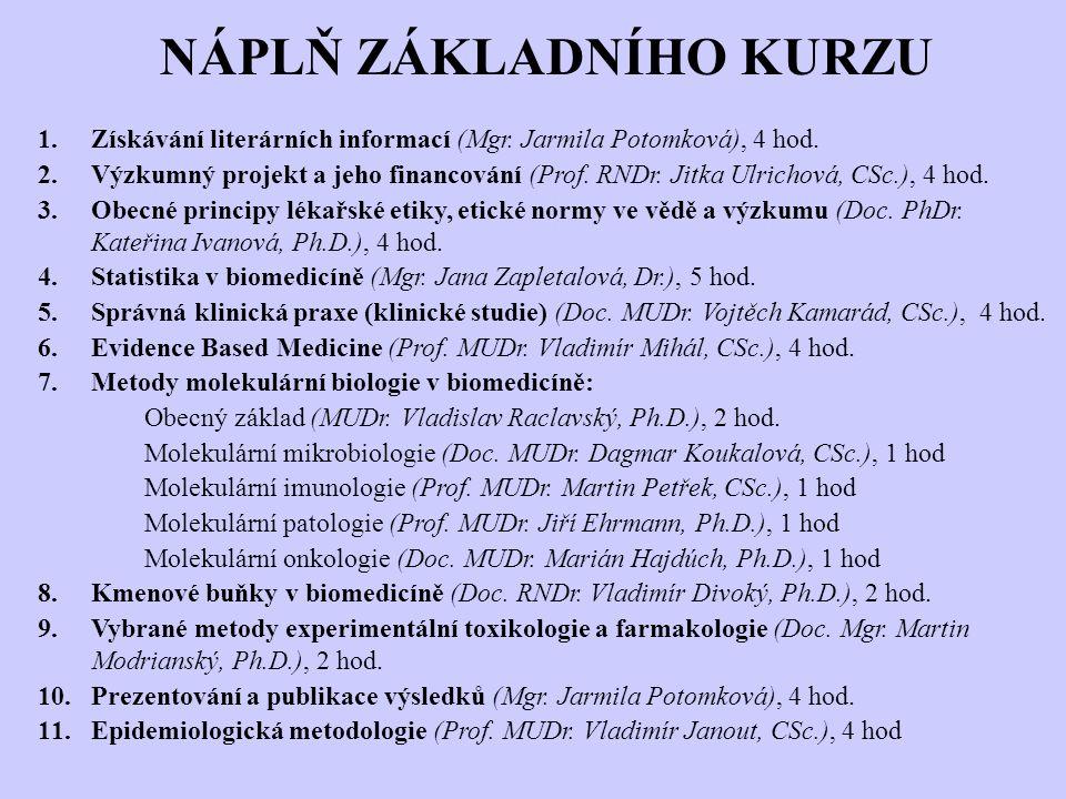 NÁPLŇ ZÁKLADNÍHO KURZU 1.Získávání literárních informací (Mgr. Jarmila Potomková), 4 hod. 2.Výzkumný projekt a jeho financování (Prof. RNDr. Jitka Ulr