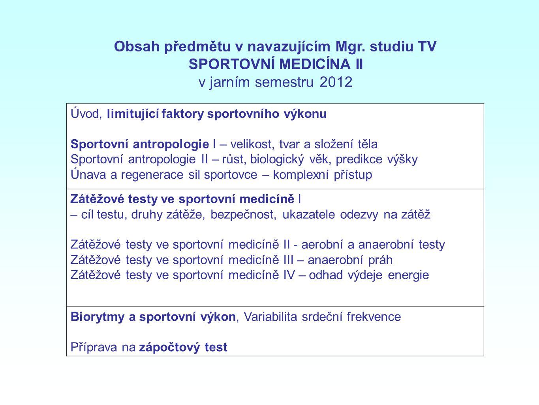 Obsah předmětu v navazujícím Mgr. studiu TV SPORTOVNÍ MEDICÍNA II v jarním semestru 2012 Úvod, limitující faktory sportovního výkonu Sportovní antropo