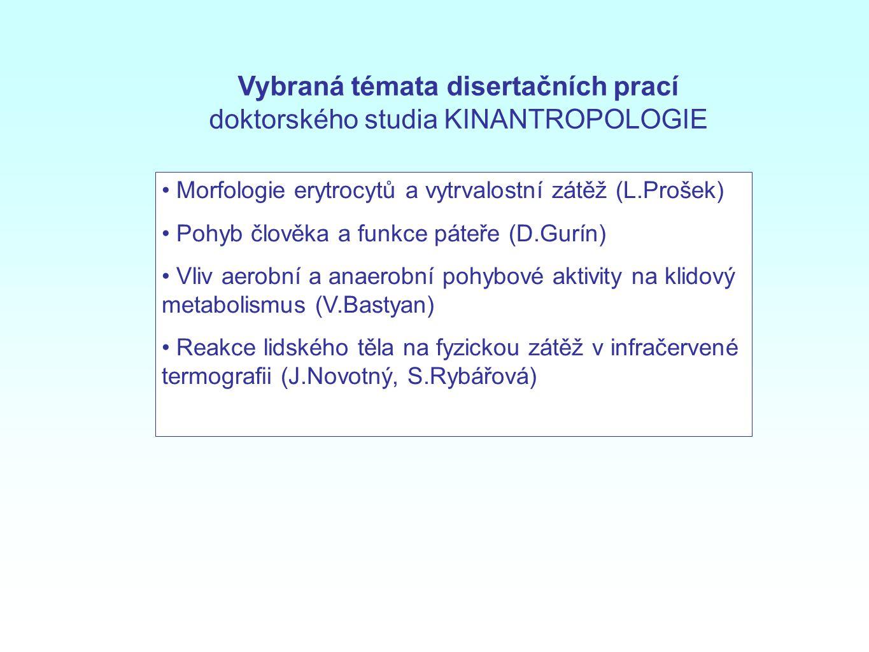 Morfologie erytrocytů a vytrvalostní zátěž (L.Prošek) Pohyb člověka a funkce páteře (D.Gurín) Vliv aerobní a anaerobní pohybové aktivity na klidový me