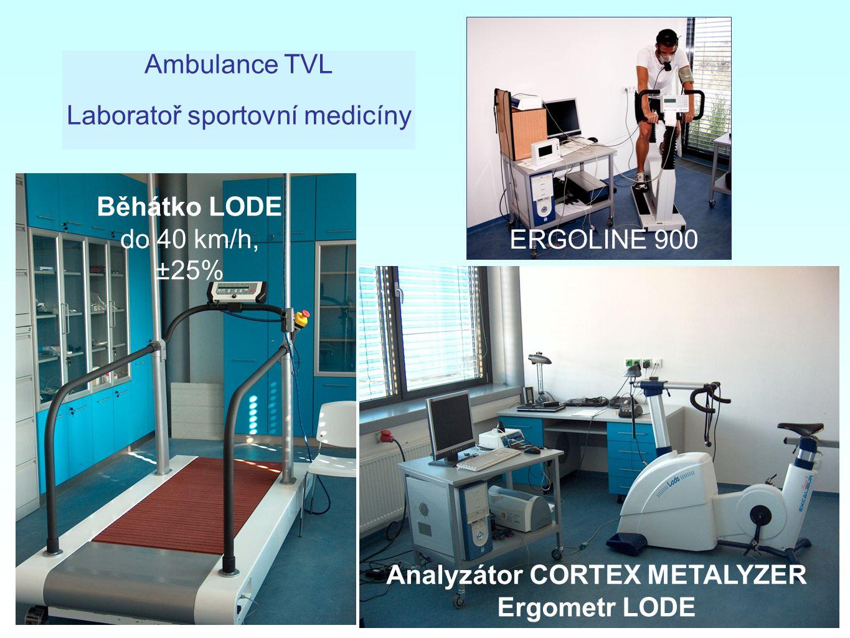 Běhátko LODE do 40 km/h, ±25% Analyzátor CORTEX METALYZER Ergometr LODE ERGOLINE 900 Ambulance TVL Laboratoř sportovní medicíny