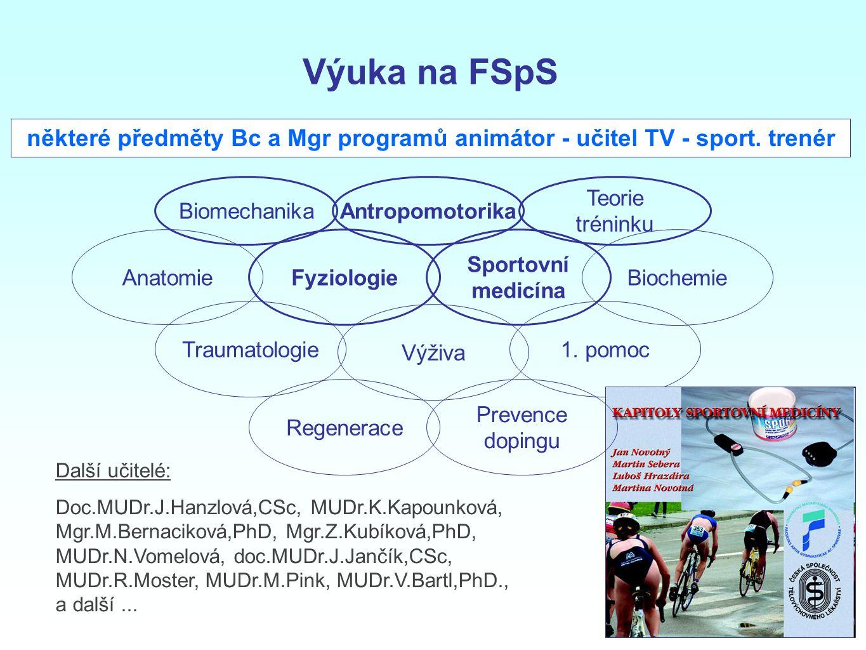 Fyziologie Sportovní medicína některé předměty Bc a Mgr programů animátor - učitel TV - sport. trenér Anatomie 1. pomoc Biochemie Výživa Traumatologie