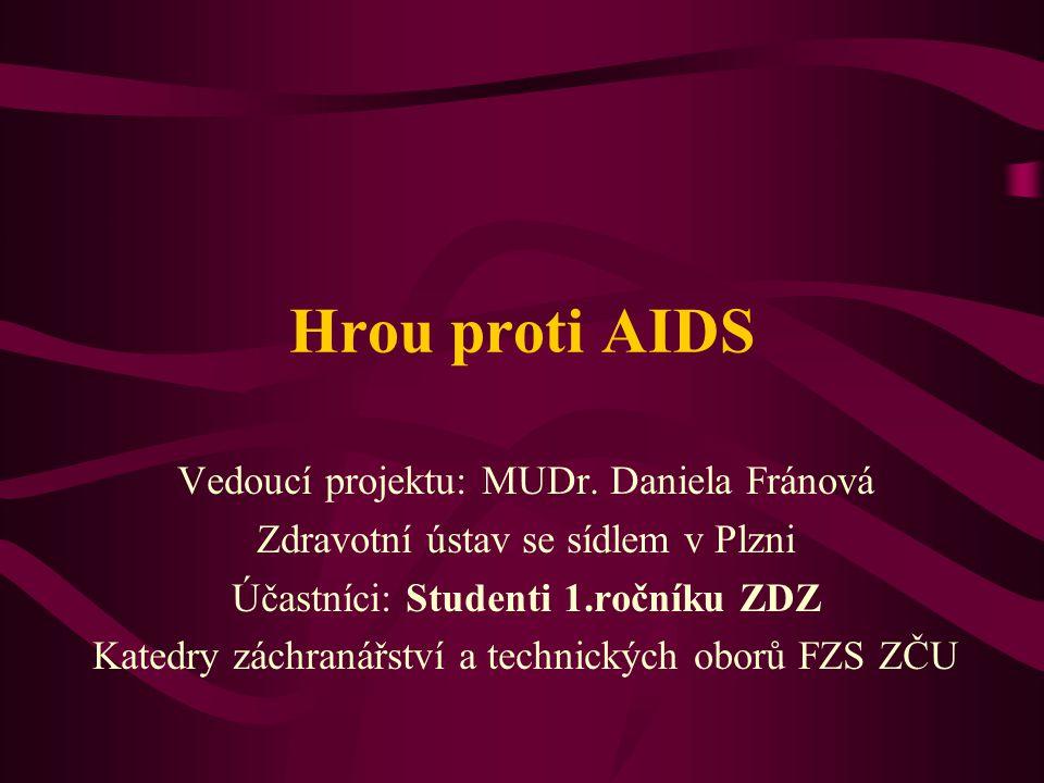 Hrou proti AIDS Vedoucí projektu: MUDr. Daniela Fránová Zdravotní ústav se sídlem v Plzni Účastníci: Studenti 1.ročníku ZDZ Katedry záchranářství a te