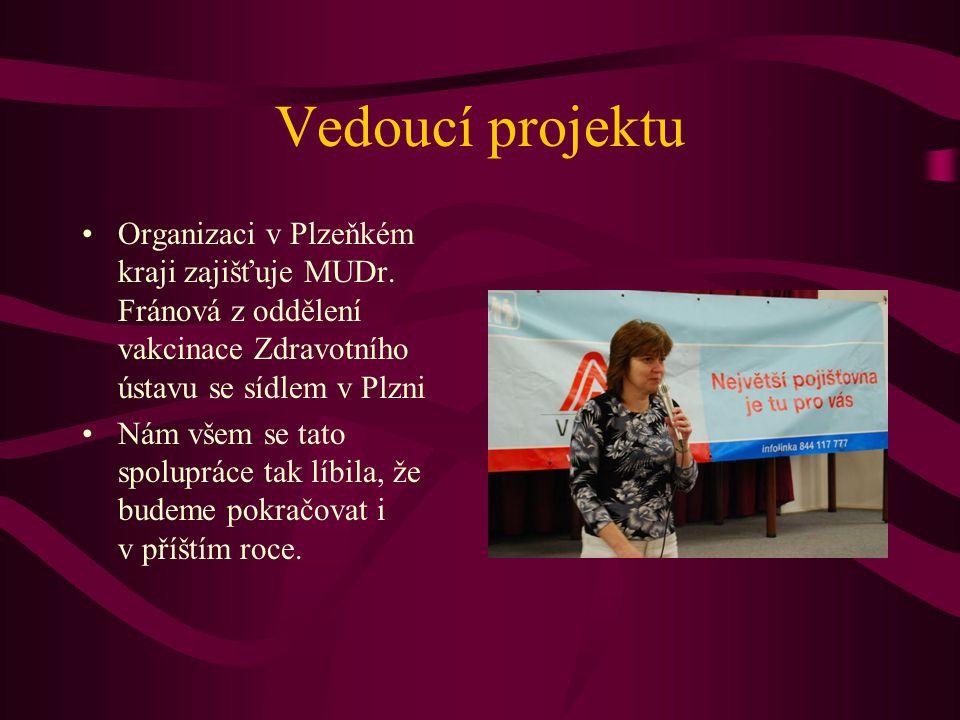 Vedoucí projektu Organizaci v Plzeňkém kraji zajišťuje MUDr. Fránová z oddělení vakcinace Zdravotního ústavu se sídlem v Plzni Nám všem se tato spolup