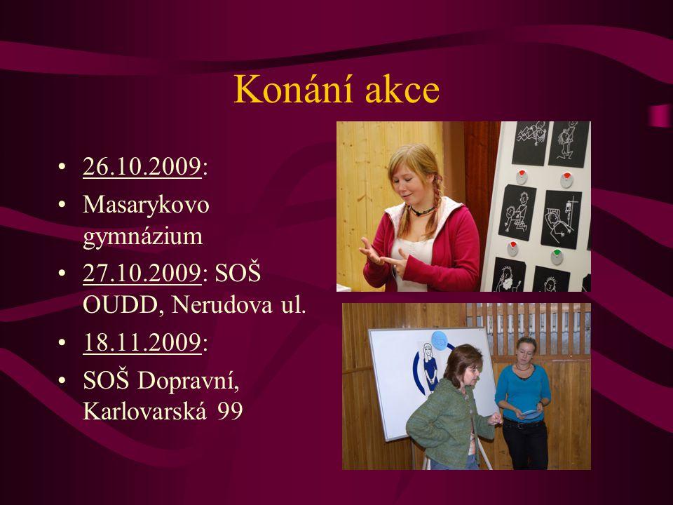 Konání akce 26.10.2009: Masarykovo gymnázium 27.10.2009: SOŠ OUDD, Nerudova ul.