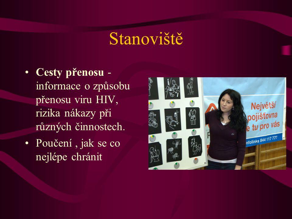 Stanoviště Cesty přenosu - informace o způsobu přenosu viru HIV, rizika nákazy při různých činnostech. Poučení, jak se co nejlépe chránit