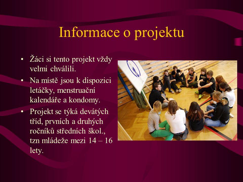 Informace o projektu Žáci si tento projekt vždy velmi chválili. Na místě jsou k dispozici letáčky, menstruační kalendáře a kondomy. Projekt se týká de
