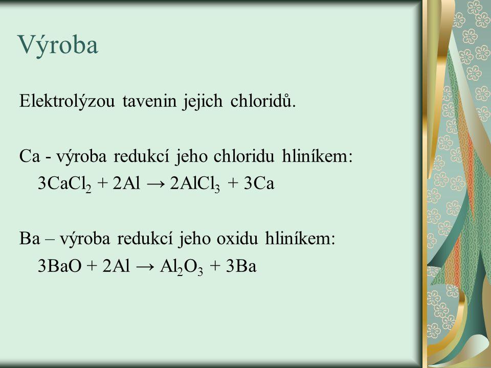 Výroba Elektrolýzou tavenin jejich chloridů.