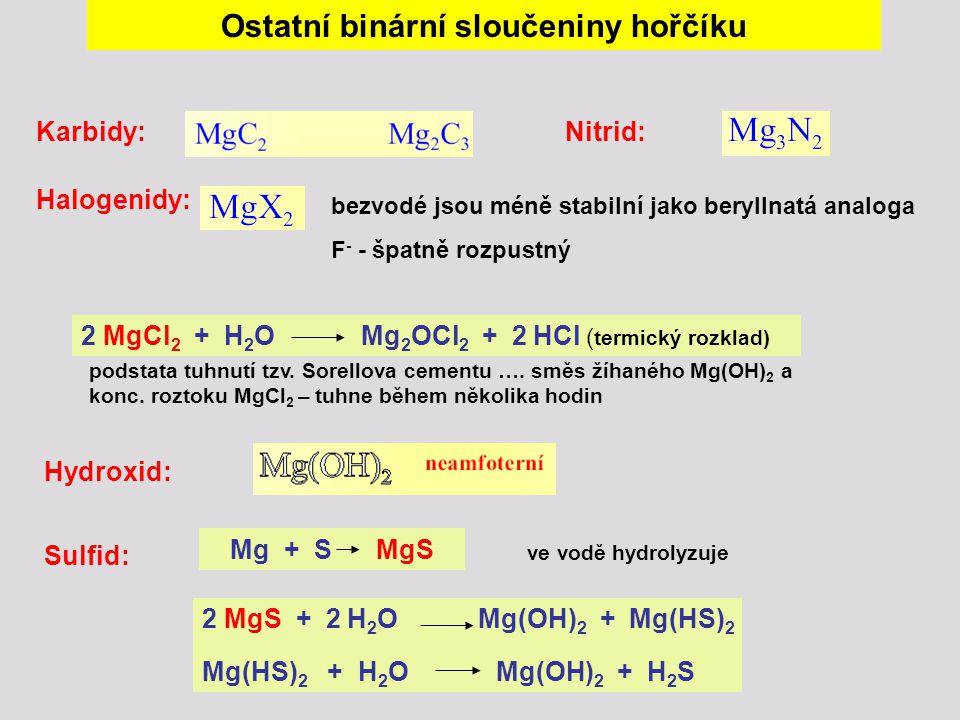 Ostatní binární sloučeniny hořčíku Karbidy:Nitrid: Halogenidy: Hydroxid: 2 MgCl 2 + H 2 O Mg 2 OCl 2 + 2 HCl ( termický rozklad) bezvodé jsou méně sta
