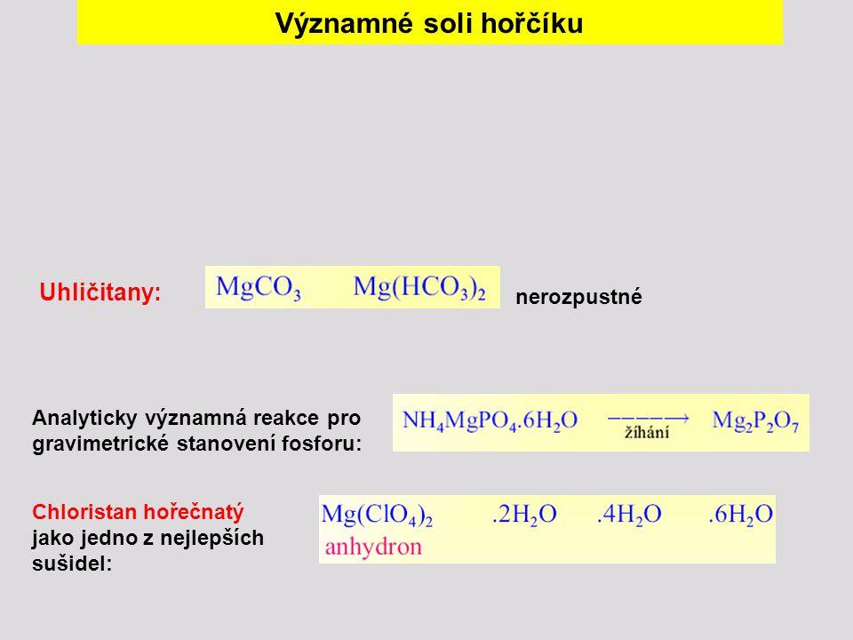 Významné soli hořčíku Analyticky významná reakce pro gravimetrické stanovení fosforu: Chloristan hořečnatý jako jedno z nejlepších sušidel: Uhličitany