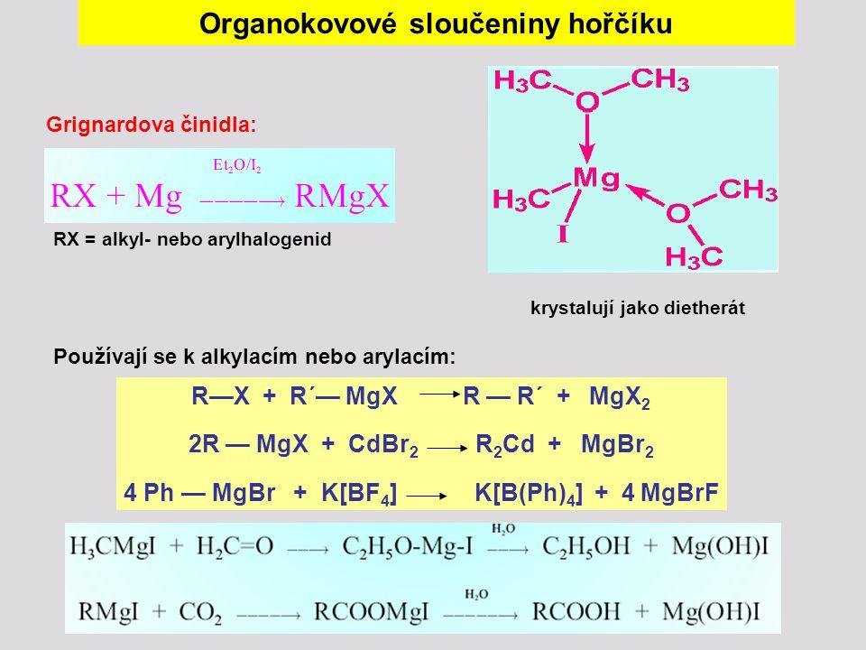 Organokovové sloučeniny hořčíku Grignardova činidla: RX = alkyl- nebo arylhalogenid krystalují jako dietherát Používají se k alkylacím nebo arylacím:
