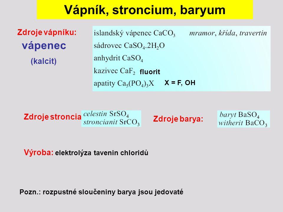 Vápník, stroncium, baryum Zdroje vápníku: vápenec (kalcit) Zdroje barya: Zdroje stroncia: fluorit X = F, OH Výroba: elektrolýza tavenin chloridů Pozn.