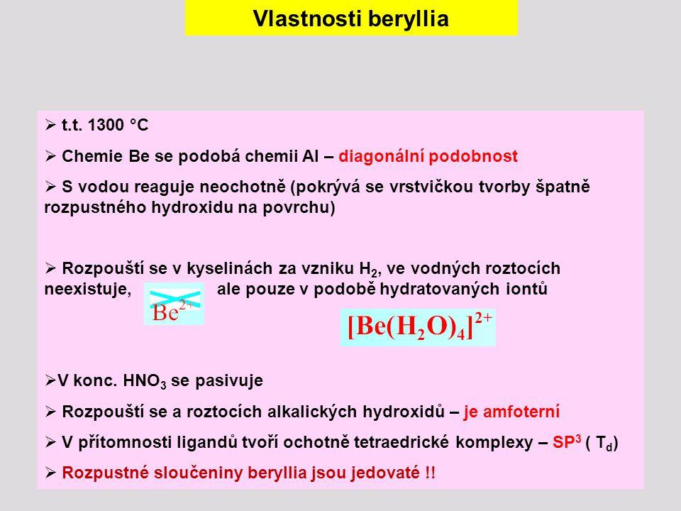 Vlastnosti beryllia  t.t. 1300 °C  Chemie Be se podobá chemii Al – diagonální podobnost  S vodou reaguje neochotně (pokrývá se vrstvičkou tvorby šp