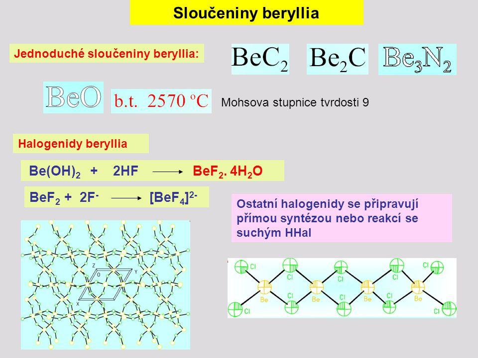 Sloučeniny beryllia Halogenidy beryllia Jednoduché sloučeniny beryllia: Mohsova stupnice tvrdosti 9 Be(OH) 2 + 2HF BeF 2. 4H 2 O BeF 2 + 2F - [BeF 4 ]